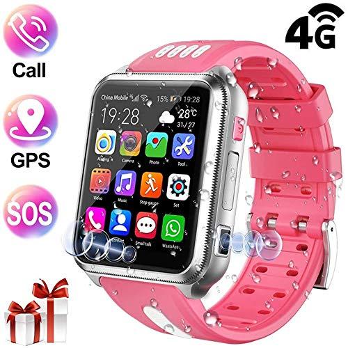 GYJUN Smartwatch Kinder, GPS Tracker Unterstützt 4G (SIM-frei) Wasserdicht mit 2 Kamera, Videoanruf, Schulmodus, Voice Chat, Remote-Fotografie, GEO-Zaun für Jungen Mädchen,Rosa