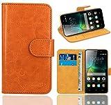 Huawei G Play Mini/Honor 4C Handy Tasche, FoneExpert® Wallet Hülle Flip Cover Hüllen Etui Ledertasche Lederhülle Premium Schutzhülle für Huawei G Play Mini/Honor 4C (Orange)