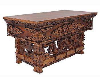 DharmaObjects Solid Wood Hand Carved Shrine Altar Meditation Table  Medium Dark