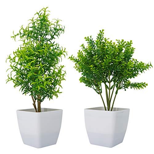 Huryfox 2 unidades de plantas artificiales en macetas para decoración del hogar, decoración de interiores, planta falsa de otoño...