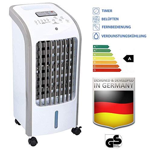 Jung Tv06 Ventilator mit Raumluftbefeuchter + Fernbedienung, 2in1 Lüfter ENERGIESPAREND, Standventilator, Luftfilter + Timer 7,5Std, Bodenventilator leise, 60 dBA, Luftkühler, Oszillierend