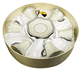 D'Lusso Designs 6MC180-A Border 12 Piece Espresso Set in Hat Box