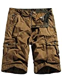 WenVen Men's Multi-Pockets Cargo Shorts Loose Fit Cotton Twill Pants Coffee 38