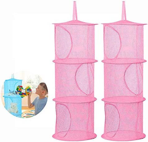 2Pcs Hanging Mesh Space Saver Bags Organizer Foldable 3 Compartments Toy Storage Basket for product image