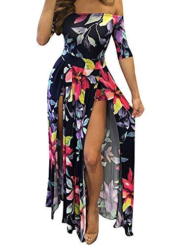 Womens Floral Off Shoulder Club Night Party Split Maxi Romper Dress Blue L