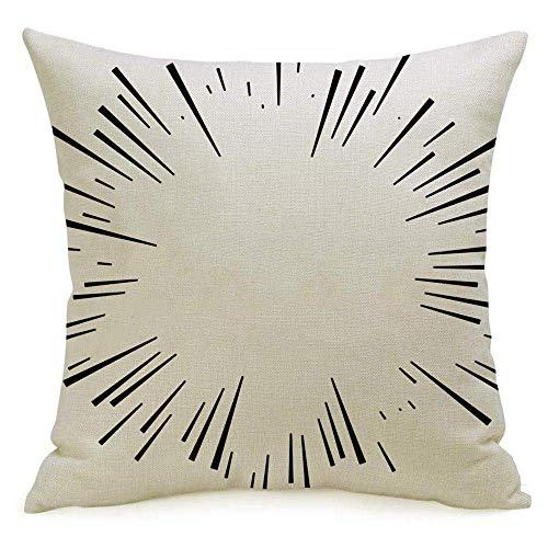 Funda de almohada cuadrada de lino decorativo Funda de almohada Comic Force Explosion Efecto de estrella Líneas radiales radiantes negras Forma circular Funda de almohada de destrucción abstracta Fund