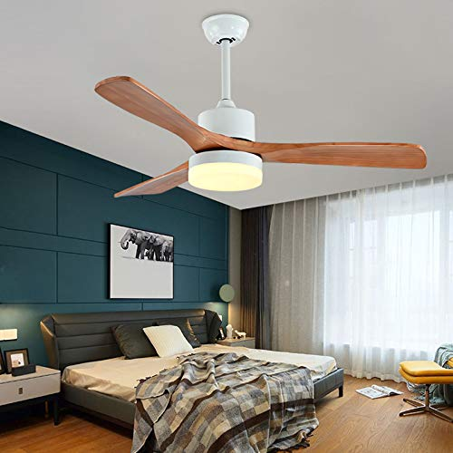 Deckenventilator mit Beleuchtung aus Holz leise Deckenventilator LED Licht, Dimmbar mit Fernbedienung, led Deckenlampe für Schlafzimmer Wohnzimmer Esszimmer (Weiss, 52Zoll(Wandsteuerung))