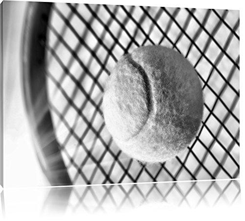 Pixxprint Tennis Schläger Ball als Leinwandbild | Größe: 120x80 | Wandbild| Kunstdruck | fertig bespannt
