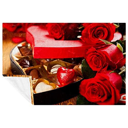 BestIdeas Manta suave y cálida con estampado de rosas rojas de chocolate, para cama, sofá, picnic, camping, playa, 150 x 100 cm