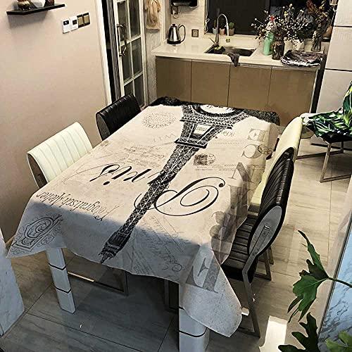 XXDD Eiffelturm rechteckige Tischdecke Wohnkultur Esstisch Set Tischdecke Kamin Arbeitsplatte Tischdecke A9 140x200cm