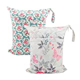 ALVABABY 2pcs Cloth Diaper Wet Dry Bags Waterproof Reusable with Two Zippered Pockets Travel Beach Pool Daycare Soiled...