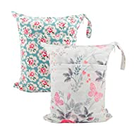 ALVABABY 2pcs Cloth Diaper Wet Dry Bags Waterproof Reusable with Two Zippered Pockets Travel Beach Pool Daycare Soiled Baby Items Yoga Gym Bag for Swimsuits or Wet Clothes L5166