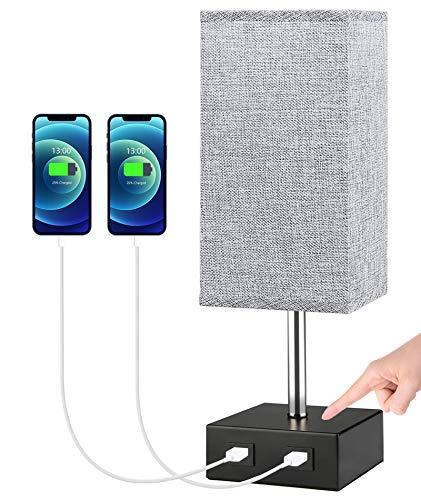 Lámpara de Mesita de Noche táctil,SchuBel lámpara de mesa LED moderna con 2 puertos USB, Luz de Nocturna regulable, Lámpara Escritorio para dormitorio y sala de estar, con bombilla (gris)