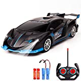 KULARIWORLD Remote Control Car for Boys Girls Fast 1/18 Rechargeable Fast RC Cars Toys Gifts for Kids High Speed with Led Lights (Black Blue)