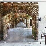 ABAKUHAUS Clásico Cortina de Baño, Arcos de ladrillo Dry Tortugas, Material Resistente al Agua Durable Estampa Digital, 175 x 200 cm, marrón