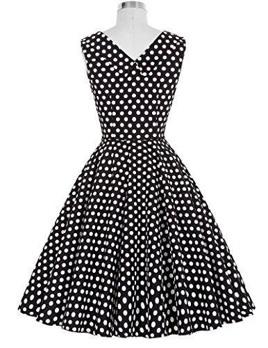Frauen 50s Retro A-Linie Baumwolle Partykleid Mode 1950er M CL008901-11 - 2