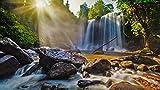 CZYSKY Rompecabezas De 500 Piezas Puzzle Juguete De Madera, Cascada En El Parque Nacional Lychee Mountain, Camboya (52 * 38 cm)