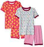 Amazon Essentials Girl's 4-Piece Sleeve Short Pajama Set, Hearts and Dots, Small