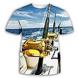 Pesca En El Mar 3D Impreso Tops Cuello Redondo Casual Manga Corta para Hombres Mujeres Verano Camisetas Personalizadas,6XL
