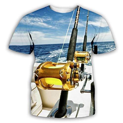 SWEYRT Impression De Canne À Pêche en Mer T-Shirt À...