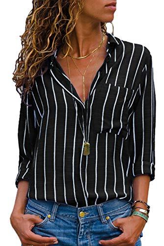 Dokotoo Damen Bluse Chiffon Elegant V-Ausschnitt Bedruckt Langarmshirt Hemd Kragen Tops Schwarz M