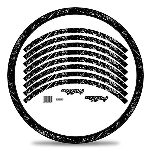 Finest Folia Juego completo de 16 pegatinas para llantas de bicicleta, diseño de carreras, bicicleta de montaña, bicicleta RX024 (plata metalizada, mate)