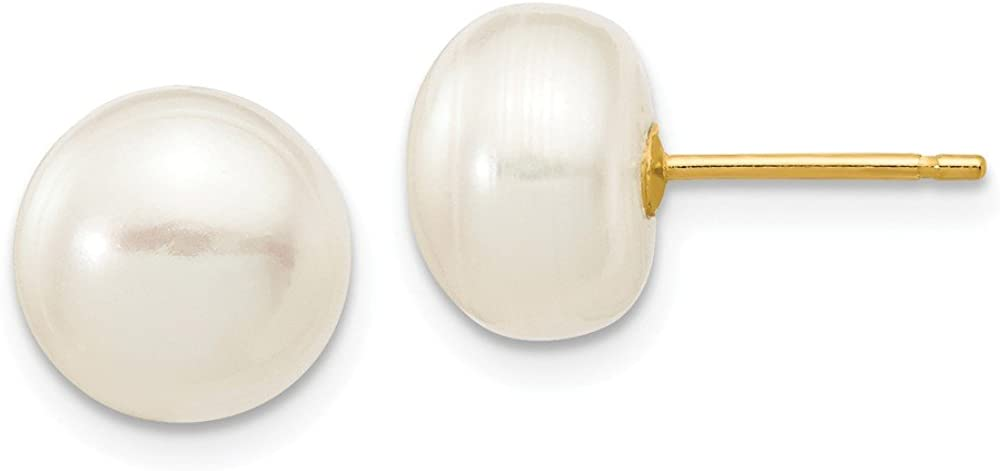 Solid 14k Yellow Gold 8-9mm White Button FW Cultured Pearl Stud Earrings