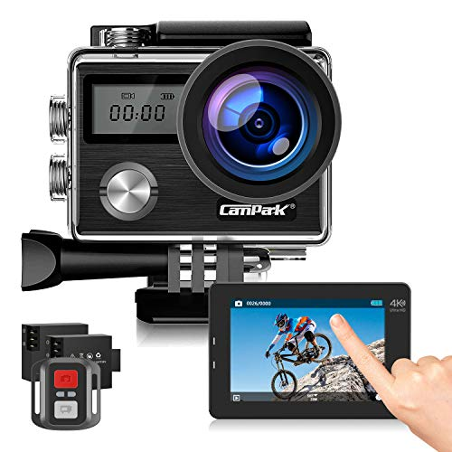 Campark Action Cam 4K HD 20MP WiFi LCD Touch Screen Subacquea 40M con Telecomando EIS Stabilizzazione Videocamera 170° Grandangolare 2 Batterie e Kit di Accessori Compatibile con Go Pro