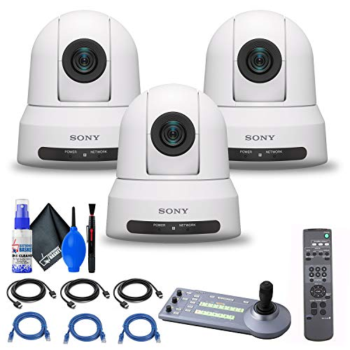 3 x Sony SRG-X120 1080p PTZ Camera with HDMI, IP & 3G-SDI Output (SRGX120/W) + Sony RM-IP10 IP Remote Controller + 3 x Ethernet Cable + Cleaning Set + 3 x HDMI Cable - Bundle
