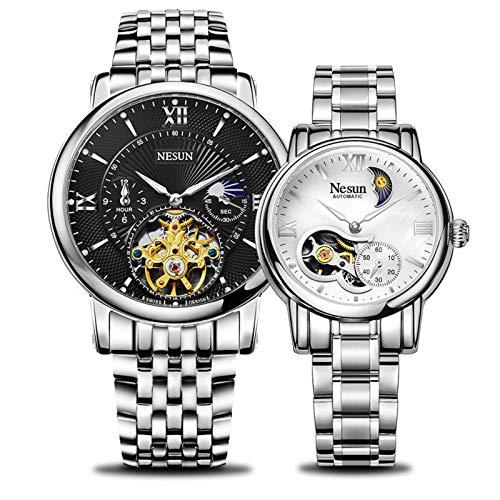 N-B Nishang Auténticos relojes de pareja, elegante y simple temperamento, totalmente automáticos de pareja de relojes mecánicos.