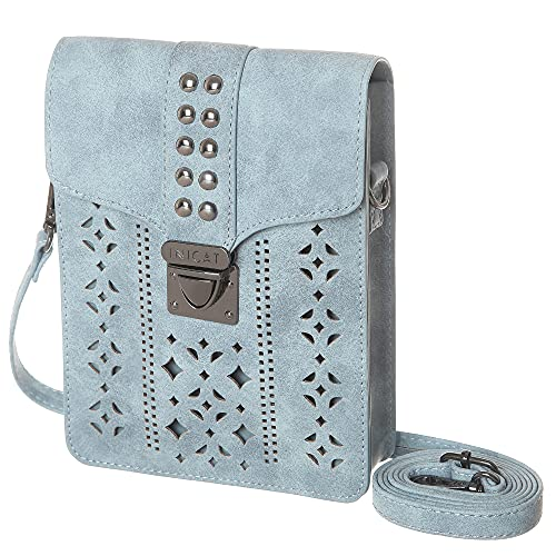 MINICAT Women RFID Blocking Small Crossbody Bags Cell Phone Purse Wallet With Credit Card Slots(Light Blue-Thicker)