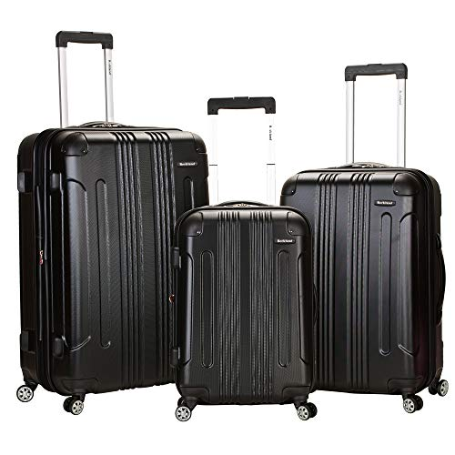 Rockland London Hardside Spinner Wheel Luggage, Black, 3-Piece Set (20/24/28)