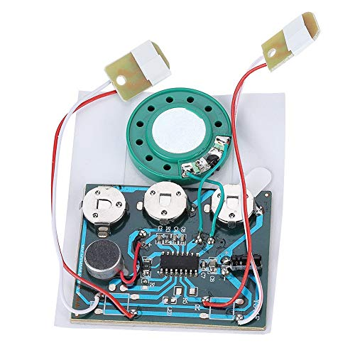 30 Second Voice Sound Recorder Module for Plush Toy, High Sound Quality DIY Sound Recording Greeting Card Chip Recordable Music Voice Module Chip 0.5W with 3 Button Cells(wired double button control)