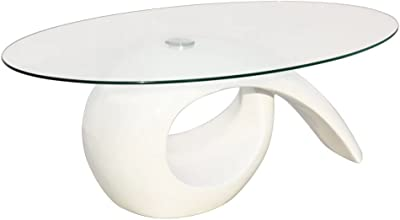 440ba37efe91 Festnight High Gloss Coffee Table Oval Tempered Glass Top End Side Table  with Hollow Storage Shelf