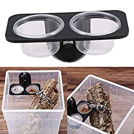POPETPOP Gecko Feeder Ledge-Small Gecko Food Cups Reptile Feeder for Reptiles Food and Water Feeding(Screw Type)