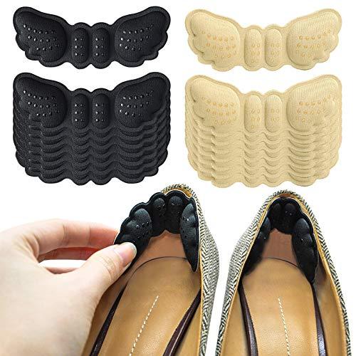 Protège Talon Poignées de Talon Haut Forme d'Aile Inserts de Talon pour Chaussures Trop Grandes Protecteur de Talon Anti-Dérapant Auto-Adhésif Noir Abricot 8 Paires (6 Mm d'Épaisseur)
