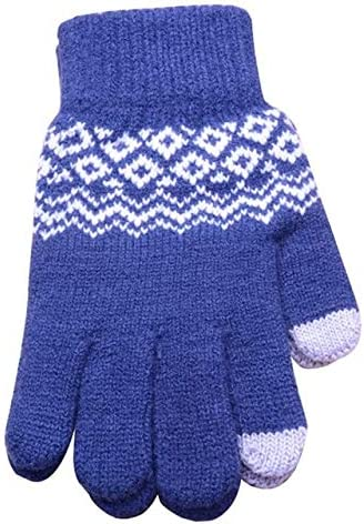 Knitted Gloves Men/Woman Touch Screen Girl Female Stretch Knit Gloves Mittens Winter Warm Knitting Printing Gloves Warm Gifts - (Color: BL)