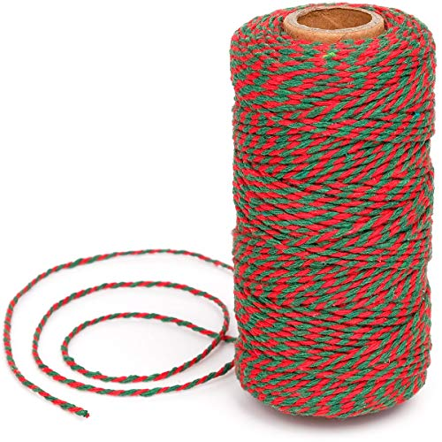 Eison Holiday Twine Bakers Twine Cotton Bakery String Red and Green Twine Rope Cord for Baking, Butchers, and Holiday Gift Wrapping, Arts Crafts 328 Feet