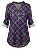 Women Flannel Shirts Women's 3/4 Cuffed Sleeve Zip Notch V Neck Casual Plaid Shirts Tunic Tops Blouses Purple Plaid Medium