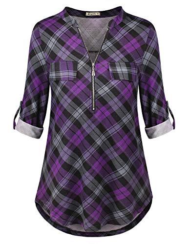 Women Flannel Shirts Women's 3/4 Cuffed Sleeve Zip Notch V Neck Casual Plaid Shirts Tunic Tops Blouses Purple Plaid Medium