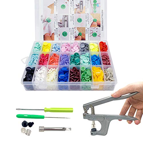 SUNTATOP 360 Set 24 Farben T5 Druckknöpfe + Snaps Zange(T3, T5, T8) für alle Arten DIY Kleidung Basteln