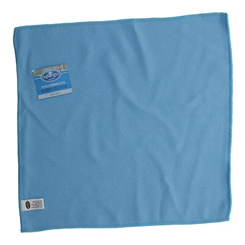 Spargo Mikrofasertuch, Reinigungstuch, Tuch für Glas und Spiegel, Mikrofaser, Blau oder Rot, ca. 40 x 40 cm, AS0337