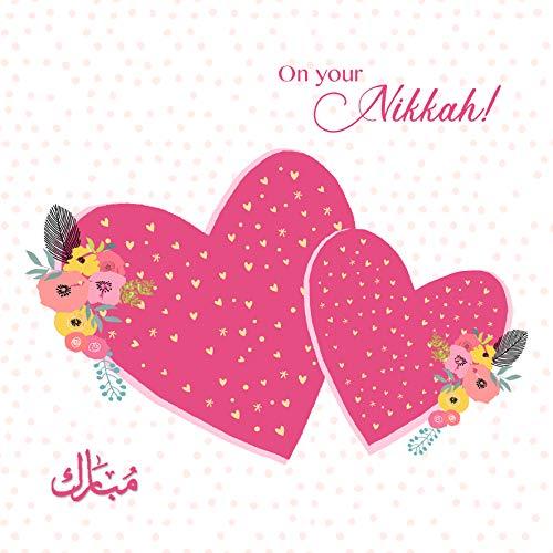 Islamische Hochzeitskarte – On Your Nikkah – Mubarak – 2 Herzen
