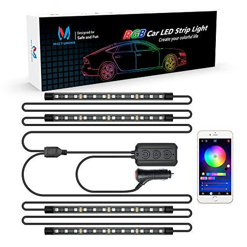 MICTUNING N1 Interior Car Lights, 12V 24V Car LED Strip Light 4pcs RGB Ambient Lighting Kit with 2-Line Design, APP Controller, Music Mode