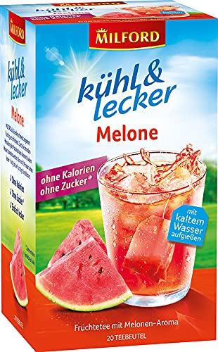 Milford kühl & lecker Melone ohne Kalorien | ohne Zucker | laktosefrei | glutenfrei | vegan | 20 Teebeutel | 50 g