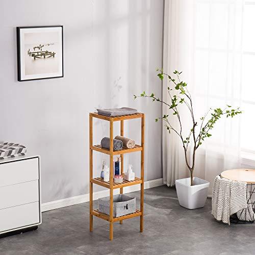 [37 x 33 x 110 cm] Estante de almacenamiento de cuatro capas, estante de cocina, almacenamiento de medios, almacenamiento de baño, muebles decorativos, color madera
