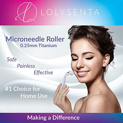 Lolysenta Derma Roller 0.25mm, Titanium Microneedle Roller for Face, Microdermabrasion Facial Roller, Microneedling Dermaroller, Includes Storage Case