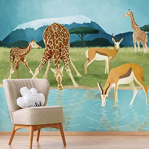 Fotobehang Goed Blauw - Dieren bij het Meer 384 x 300 cm (bxh) | Hoogwaardige Kwaliteit Vliesbehang | Eenvoudig te Plakken | Kinderkamer Behang