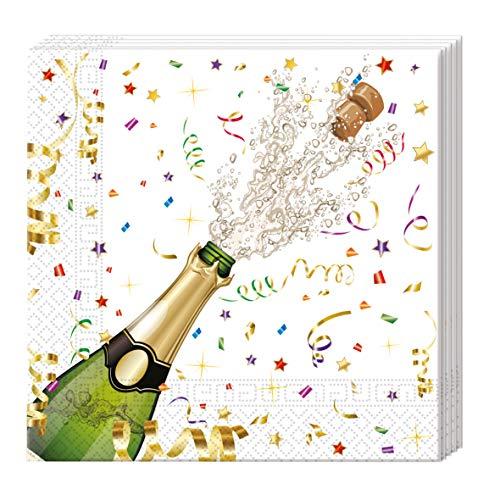 Procos 86849 - Servietten, Sparkling Celebration, 33x33cm, 20 Stück, Sektmotiv, Silvester, Geburtstag