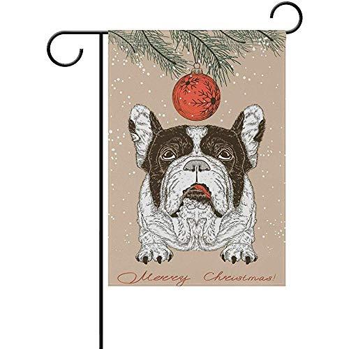 Starotor Christmas French Bulldog Garden Flag Double Sided House Yard Flag Holiday Seasonal Outdoor Flag 12' x 18'